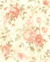 Roses, Tulips, and Peonies Lovely Peach Pink, Green, Cream Double Roll Wallpaper