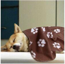 Comsmart Pet Warm Fleece Blanket Sleep Mat Pad Bed Cover With Paw Print Brown
