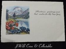 """Old Greetings Card - """" Christmas Greetings and Best Wishes For The New Year"""""""