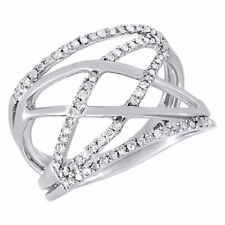 10K White Gold Diamond Ladies Intertwined Fashion Band Right Hand Ring .33 Ct
