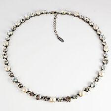 Collier Kette lang Tennis Silber Swarovski Kristall Perlen White-Mix klar weiß