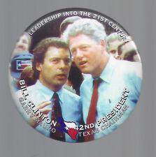 1996 BILL CLINTON & GARRY MAURO OF TEXAS - JUGATE PICTURE CAMPAIGN BUTTON