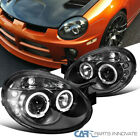 Dodge 03-05 Neon SRT4 SRT-4 Replacement LED Halo Projector Headlights Black Pair  for sale