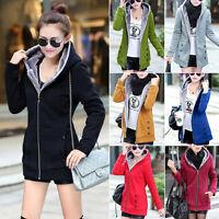 Winter Warm Damen Mantel Coat Winterjacke Fleece Jacke Parka mit Kapuze Gr.34-46