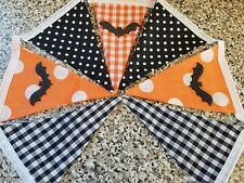 HANDMADE BUNTING - HALLOWEEN BATS - ORANGE AND BLACK MIX