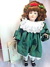"Camelot Qvc Le 6000 Carol Brunette w/Green Holiday Dress 16"" Porcelain Doll Rose"