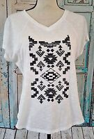 CATO Women's T Shirt Size S Short Sleeve White Black Graphic Tee Shirt Blouse