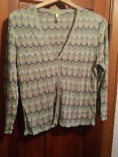 032 Women's Sigrid Olsen Petite Large Button Front Knit Shirt Long Sleeve