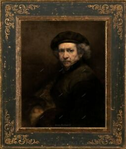 Old Master Art Self-Portrait Man Rembrandt Oil Painting Canvas Unframed 24x30