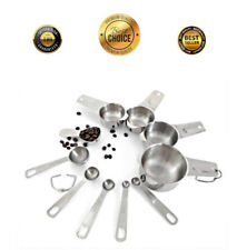 10 Piece Measuring Cups and Spoons Set Stainless Steel 4 Cups, 5 Spoons, 1 Scoop