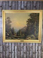 Vintage Robert Wood Mid Century Mt.Rainier Lithograph Art Print Signed In Frame