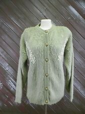 Cocoss Fashion Sweater Pearl Vintage Accents Fuzzy Green Women's Size See Notes