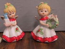 Homco 2 Christmas angels #5402 Wreath + presents
