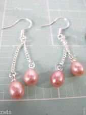 sterling silver pearl double dangle fish hook on chain earrings pink new 925