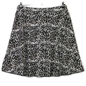 Ann Taylor Womens A-Line Skirt White Brown Black Size L Large Stretch