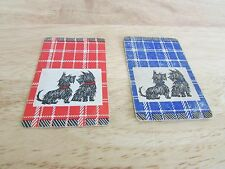 Lot of 2 Scottie Black Puppy Dog Single Swap Playing Card Cards Blue Red Plaid