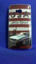 FUNDA PLASTICO DURA PARA HTC ONE M7 DE DIBUJOS DIVERTIDA USA NEW YORK COCHE