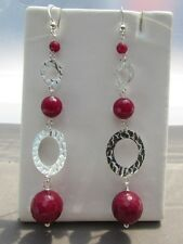 Red Ruby Agate 925 Sterling Silver Eternity Circle Drop/Dangle Hook Earrings