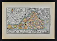 1884 McNally Map Virginia Richmond Norfolk Alexandria Charlotte Washington DC