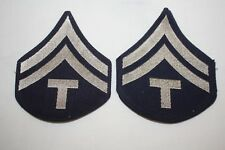 "Technical Corporal Military patches with ""T"", Navy Blue Twill w/Silver Chevrons"
