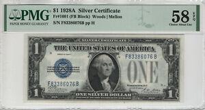 1928 A $1 SILVER CERTIFICATE NOTE FB BLOCK FR.1601 PMG CH ABOUT UNC 58 EPQ(076B)