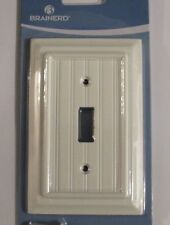 NEW Brainerd Deluxe Single Toggle Switch Wall Plate Cover White Beadboard