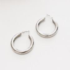 Silver Hoops Earrings Thick Hoop Earrings 5cm , Large Hoop Earrings, Big Hoops