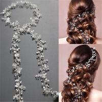 Damen Stirnband Perlenhaarband Kette Hochzeit Haarband Haarkette Kopfschmuck Neu