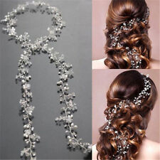 Women Pearl Wedding Hair Vine Crystal Bridal Accessories Diamante Headbands 35cm