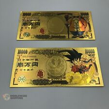 2 Billet de 10000 Yen Dragon Ball Z DBZ Gold / Carte Card Carddass / Banknote