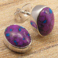 PURPLE PIERCING STUD EARRINGS ! COPPER TURQUOISE ! 925 Silver Plated