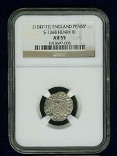 G.B./U.K./ENGLAND HENRY III  1247-1272  SILVER PENNY COIN, CERTIFIED NGC AU55