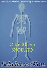 HALLOWEEN SCHELETRO MINI SNODATO PVC EFFETTO GLOW 30 cm  HORROR DJ PARTY
