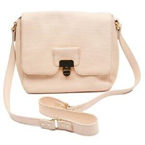 Orla Kiely Cream Calico Bonnie Leather Gold Clasp Designer Handbag BNWT RRP £370