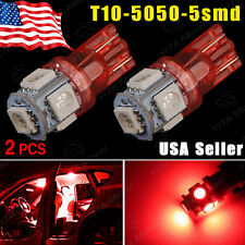 2X Pure Red T10 5SMD 5050 LED Car Dome License Map Light W5W 158 192 194 168