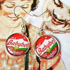 Unique MINI BABYBEL EARRINGS handmade CHEESE retro COOL lunchbox SNACK red FAB