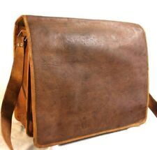 New Men's Vintage Brown Leather Full Flap Messenger Satchel Shoulder Bag Purse