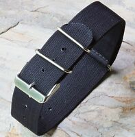 Black 24mm nylon vintage watch strap for fixed lugs or spring bars steel buckles