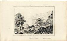 Stampa antica Cappella S. ROSALIA Palermo Sicilia 1845 Old antique print
