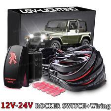 Toggle Rocker Laser Switch RED LED SASQUATCH LIGHTS Relay Wiring Harness Kit 12V