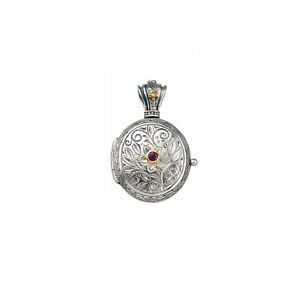 Oval Locket Pendant Small Photo Ruby Byzantine 18k Yellow Gold and Silver 925