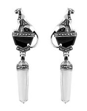 WINDSOR 'PANTHER' POST WITH SAFETY CLIP EARRINGS MARCASITE  BLACK ONYX