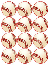 BASEBALL CUPCAKE TOPPERS Frosting Sheet BASEBALL CAKE DECORATIONS