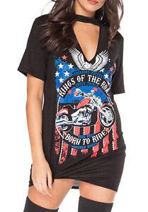 Kings Of The Road Ladies T Shirt  Rock Choker / Dirty Biker Bodysuit.