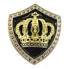 3D Oro Bling CORONA SCUDO Cintura Fibbia Royal Crest KING QUEEN Fit Snap Cintura