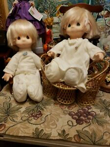 """precious moments 15"""" soft twin boy + girl dolls in white pajamas Jesus Loves Me"""