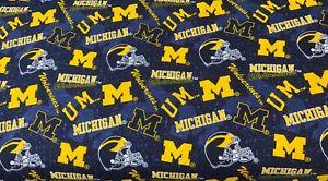 "NEW NCAA COTTON Fabric 1/4yard=9""x44"" MICHIGAN WOLVERINES THE BIG HOUSE DIY MASK"