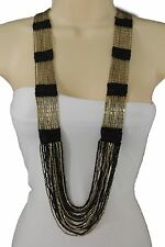 Women Dark Antique Gold Metal Long Fashion Jewelry Beach Necklace Black Beads