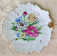 VINTAGE 1950's HAND PAINTED PORCELAIN BUTTER SERVING DISH - FLORAL W/ GOLD TRIM