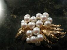 Vintage 14k Solid Yellow Gold Mid Centruy Plumage Feather Pearl Motif Brooch